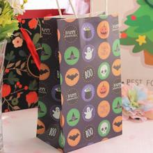 10 Pcs/lot Halloween Paper Handbag Ghost Festival Candy Bag Gift Snack Packaging Paper Bags Halloween Party Candy Box