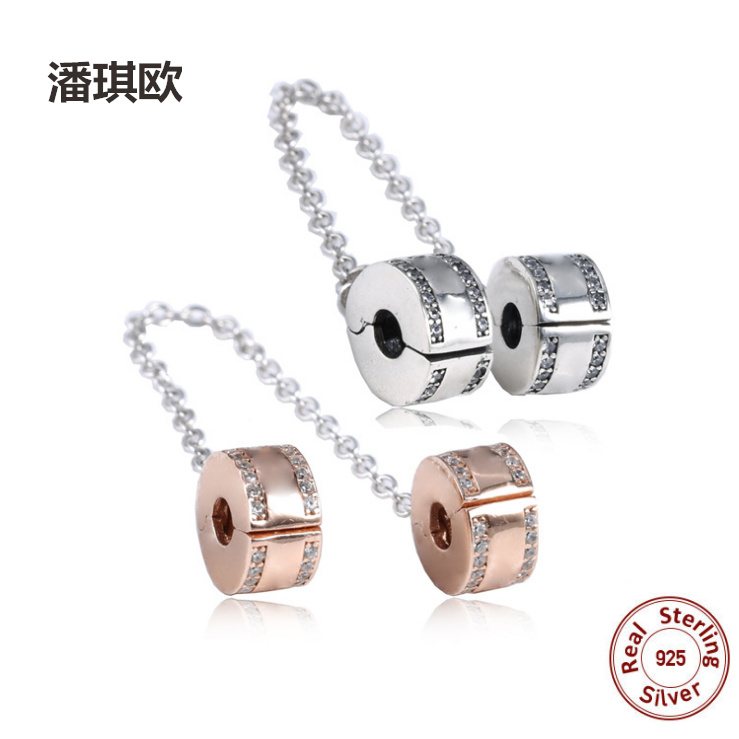 2018 New 100% Sterling Silver Safety chain Silver&Rose Gold Charm Fit Original pandora Bracelet&Bangle DIY Jewelery For women
