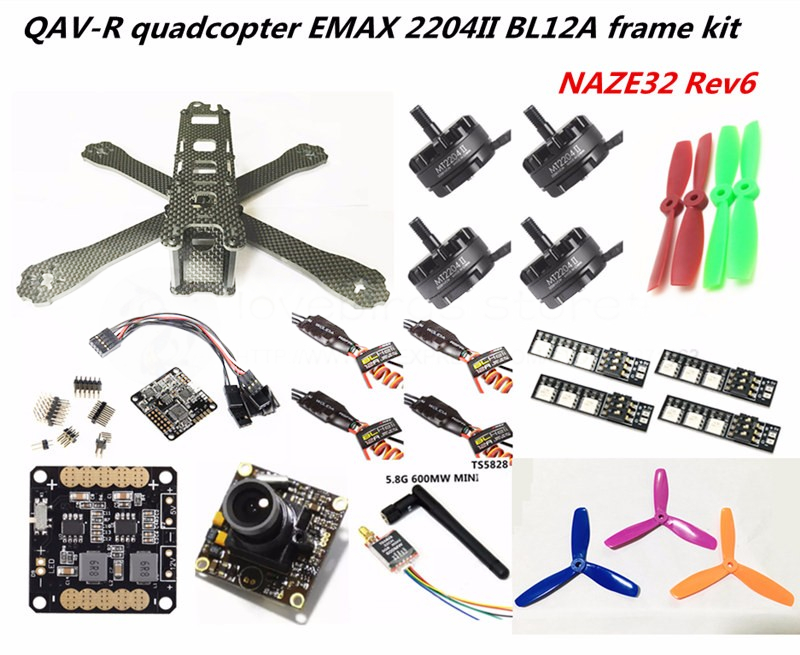FPV mini drone DIY QAV-R 220/260 quadcopter pure carbon 4x2 frame kit NAZE32 Rev6+EMAX cooling 2204II + EMAX BL12A ESC + camera diy fpv mini drone qav210 zmr210 race quadcopter full carbon frame kit naze32 emax 2204ii kv2300 motor bl12a esc run with 4s