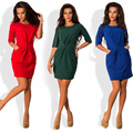 2017 Spring Autumn Women'S  Brief Style O neck waist Fold Dresses Half Sleeve Sheath Red/Blue/Green Back Zipper Dress DDUP23
