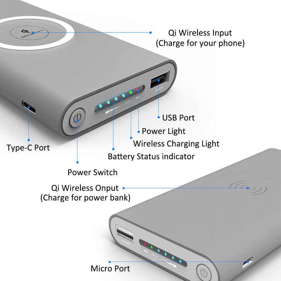 تشى شاحن لاسلكي العالمي المحمولة شاحن لاسلكي 30000mah قوة البنك ل iPhone8/X سامسونج S6 S7 S8 المحمول الهاتف