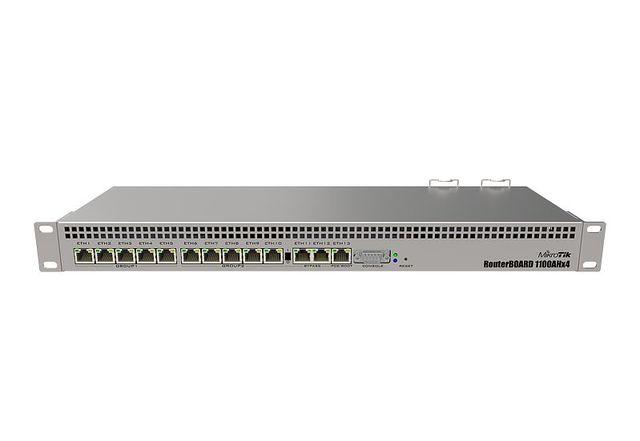 MikroTik RouterBOARD RB1100AHx4 Dude Edition, 13 기가비트 이더넷 포트, RS232 직렬 포트 및 이중 중복 전원 공급 장치