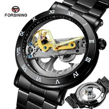 3ATM עמיד למים מיוחד עיצוב אוטומטי שעונים גברים יוקרה למעלה מותג מכאני שעון שקוף שחור מזדמן גברים של שעונים