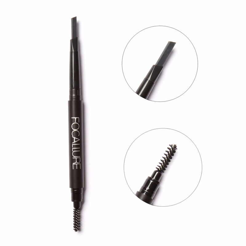 FOCALLURE Waterproof 3 colors eyebrow pencil easy to wear eye brow enhancer natural black brown gray professional eyebrow pen