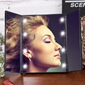 8 LEDs Iluminado Espelho de Maquiagem Make-up Tela Sensível Ao Toque de 3 Portátil Dobrável Ajustável Mesa Bancada Espelho de Maquilhagem Nova projeto