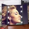 8 Led Iluminado Espejo de Maquillaje maquillaje 3 Pantalla Táctil Portátil Plegable Ajustable de Mesa Encimera Espejo de Nuevo diseño