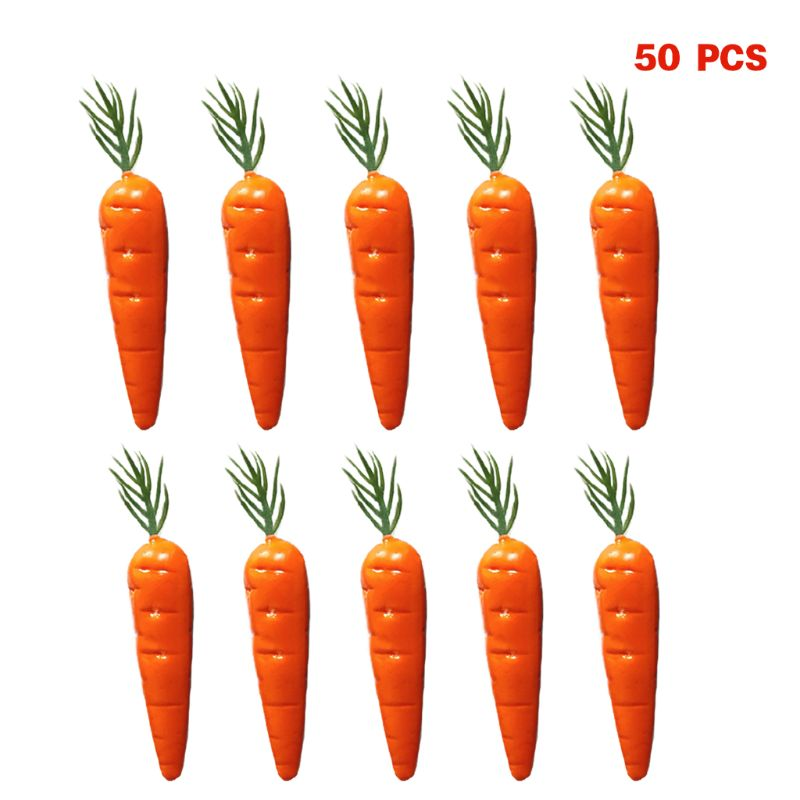50pcs Realistic Lifelike Artificial Carrot Simulation Fake Fruit Vegetable Food Display Home Party Kitchen Decoration