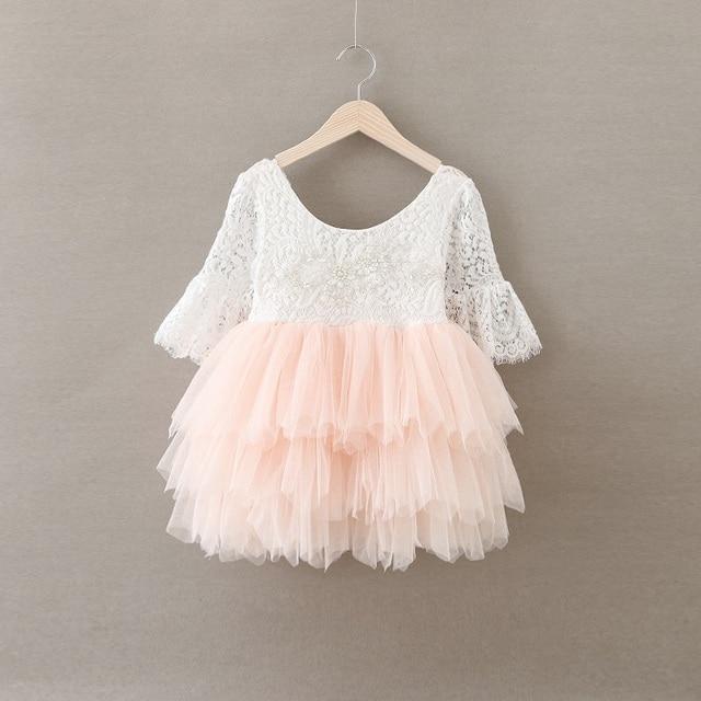 74fa4240 US $31.99  Dziewczynka strój lato dziewczyna koronkowe sukienki tulle tutu  dzieci kwiat sukienki dla dziewczynek różowa suknia ślubna ...