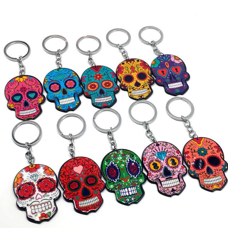Portachiavi Calavera Zuccherino-dolce stravaganze del cranio Keychain Portachiavi Celebrare Messicano Giorno dei Morti Halloween Acrilico Del Cranio Dello Zucchero