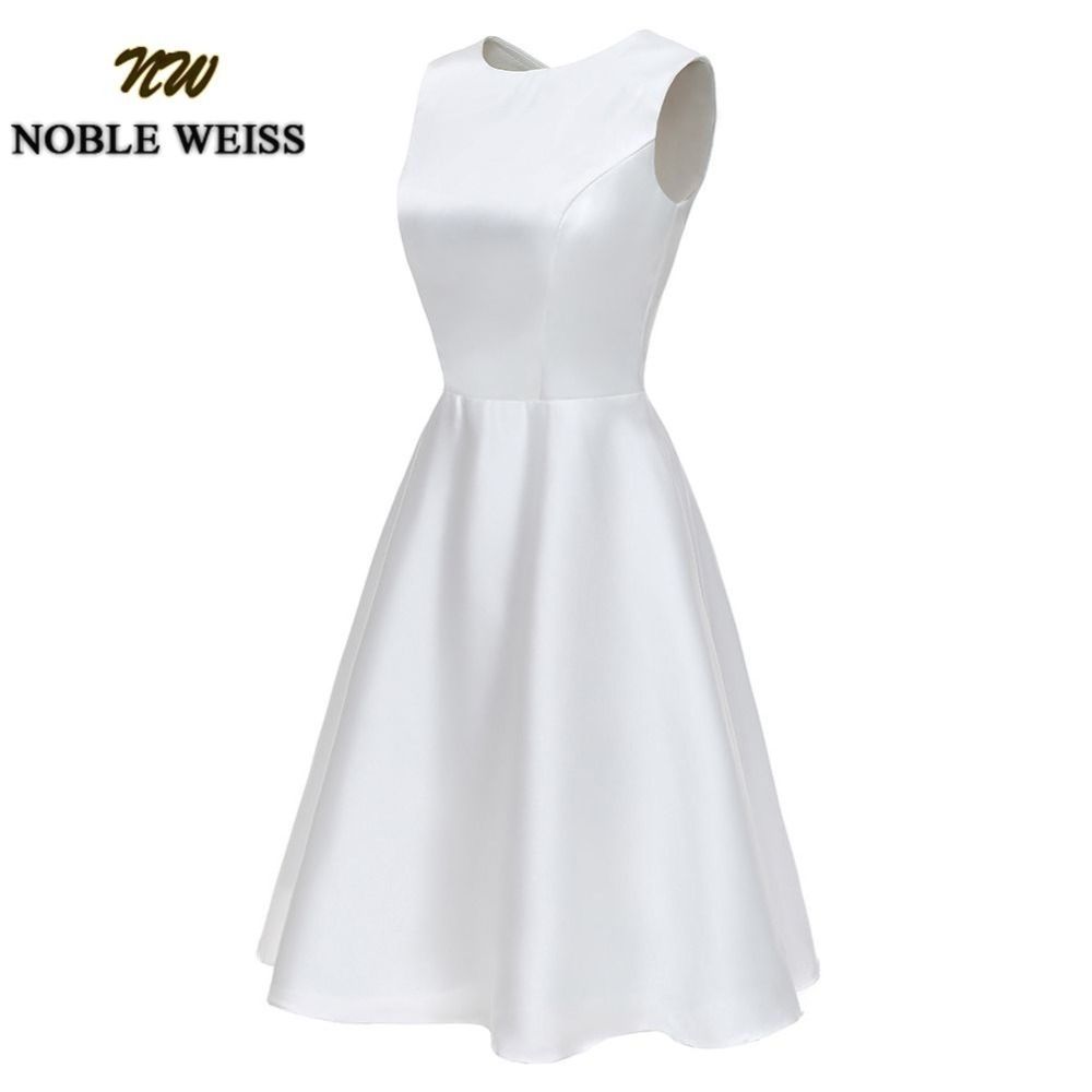 NOBLE WEISS fashion Short Wedding party   dresses   Satin   prom     dress   Sleeveless Homecoming Party Gown Custom Made Colour