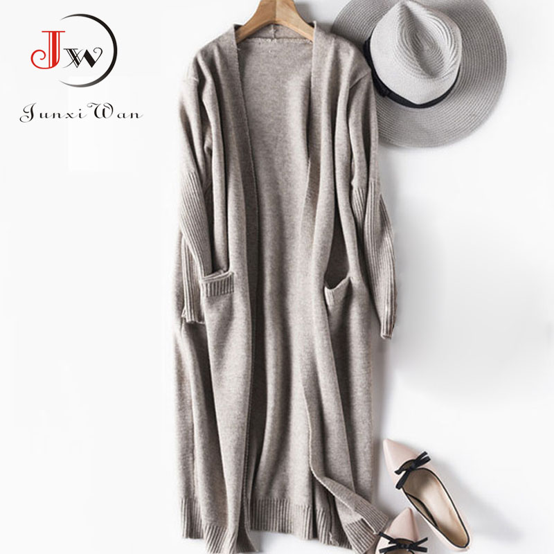 Black Cardigan Women Knitted Long Cardigans Sweater Elegant Autumn Winter Warm Coat Sweaters Pull Femme Casaco Feminino