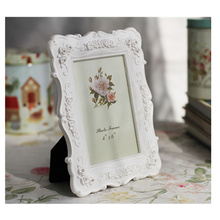 Wedding Photo Frames for Desktop 67810 Pastoral Style White Frame for Family Picture Rose Carved Picture Frame fotolijst success style polyresin photo frame 4 x 6 picture