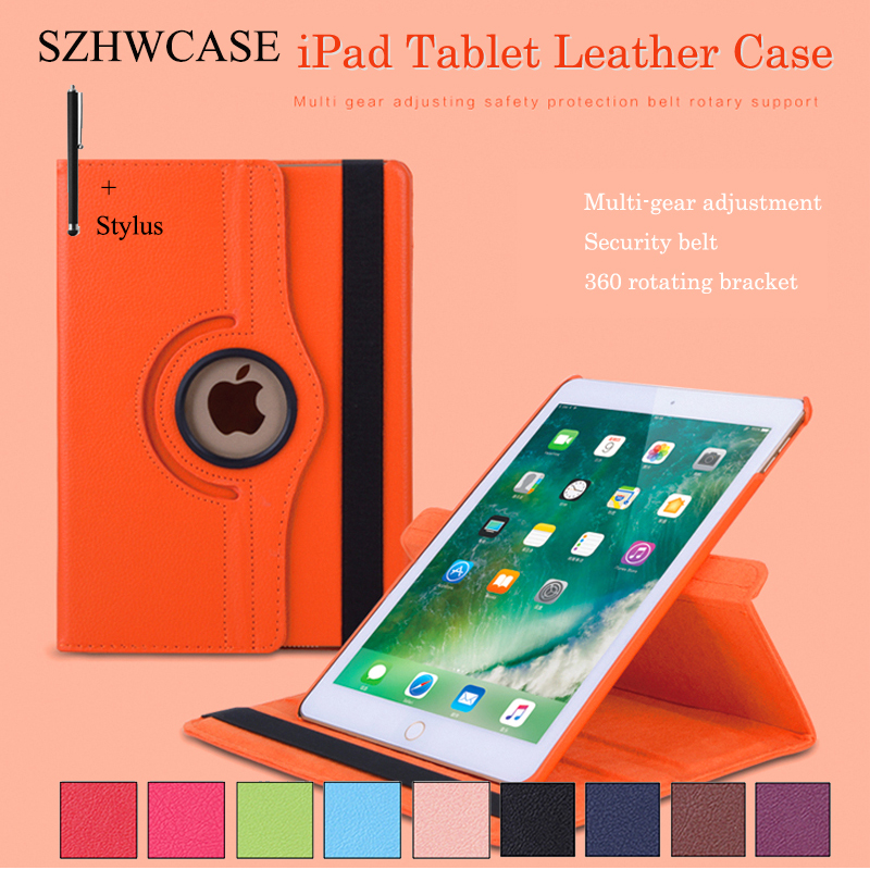 For iPad Air 2 Case Cover For Apple iPad Air 2/1 Tablet Capa Fundas For iPad Air 2 360 Rotating Flip Leather Shell +Stylus