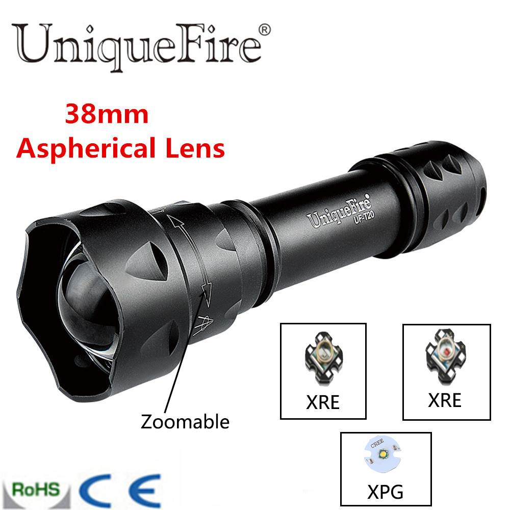 UniqueFire UF-T20 XRE/XPG Cree LED Flashlight Insert 3 Mode Shooting/memory Fits T20 Rechargeable Battery Green/White/Red Light uniquefire uf 1405 cree xpe red white green led flashlight 18650 long distance torch 300 lm rechargeable battery gun mount