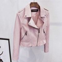 Women PU Leather Jackets Ladies Pink Slim Zipper Motorcycle PU Short Turn Down Collar Coats Female