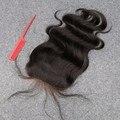 7A Grado 4x4 Cierre Brasileño Virginal Blanqueados Konts Humano Virgin Hair Body Wave Lace Closure Bleach Nudo Medio/Parte libre