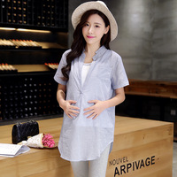 new summer maternity blouses and knitted tank tops pregnant shirts and T shirts maternity summer clothing two piece 16372