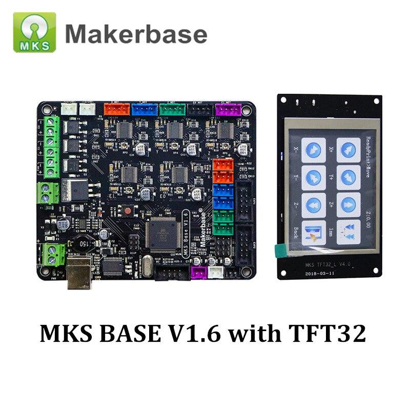 Imprimante 3D MKS BASE V1.6 carte mère intégrée avec MKS TFT32 écran intelligent Compatible Mega2560 rampes 1.4 carte de contrôle RepRap