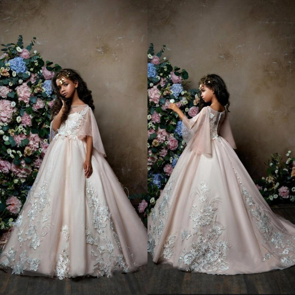 2019   Flower     Girl     Dresses   Ball Gown Comunion Blush Pink Tulle with Ivory Lace Appliqued Cap Sleeves Puffy   Girls   Pageant Party