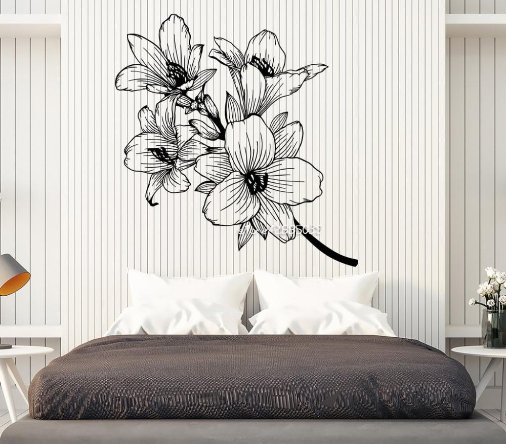 Красивые цветы филиал винил Наклейки на стену сад номер Декор Наклейка на стену художественный Дизайн высокое качество обои плакат sa901