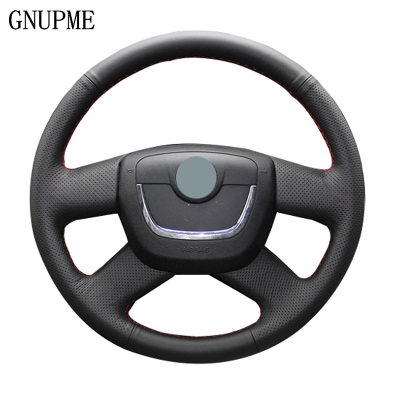 Artificial Leather Black  Car Steering Wheel Cover for Skoda Octavia Superb 2012 Yeti 2009 2013 Fabia Skoda Octavia a5 2012 2013|Steering Covers| |  - title=