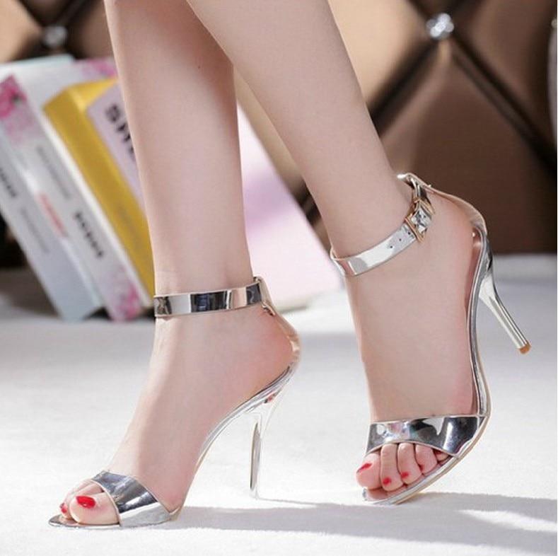 ФОТО Summer Sexy Dress Sandals Silver Stiletto Heels Genuine Leather Bridal Wedding Dress Shoes Bridesmaid Party Prom High Heels