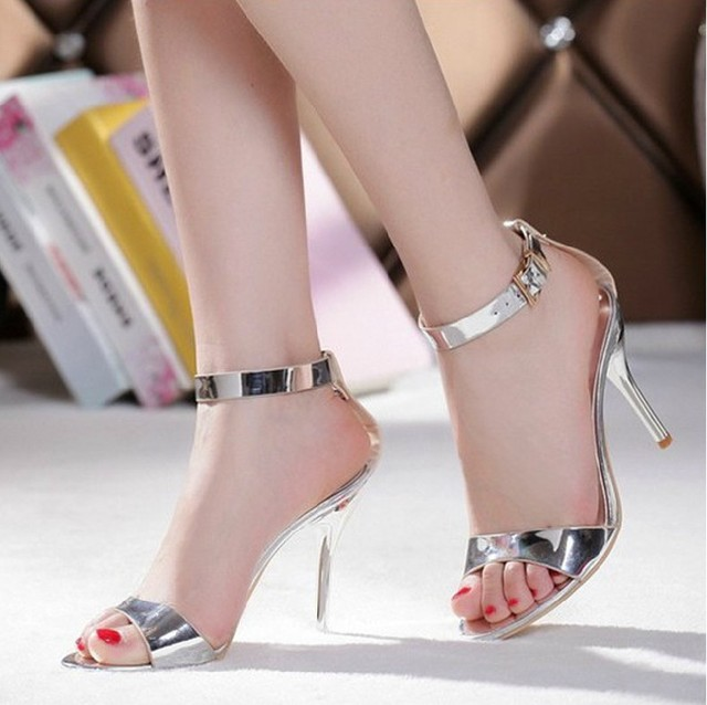 Summer Sexy Silver Stiletto Heels Dress Sandals Genuine Leather Bridal  Wedding Dress Shoes Bridesmaid High Heels