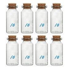 Garrafa de rolha pequena de 8 peças, 10 ml, garrafa de vidro transparente, garrafa de vidro que deseja, wh998