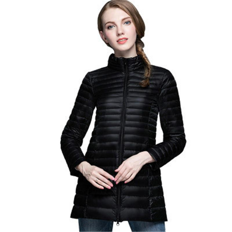 2017 Winter Light Down Jackets Women Warm Solid Color Chic Parkas Hooded Coats Outerwear Casual Plus Size Fitness Down Jackets