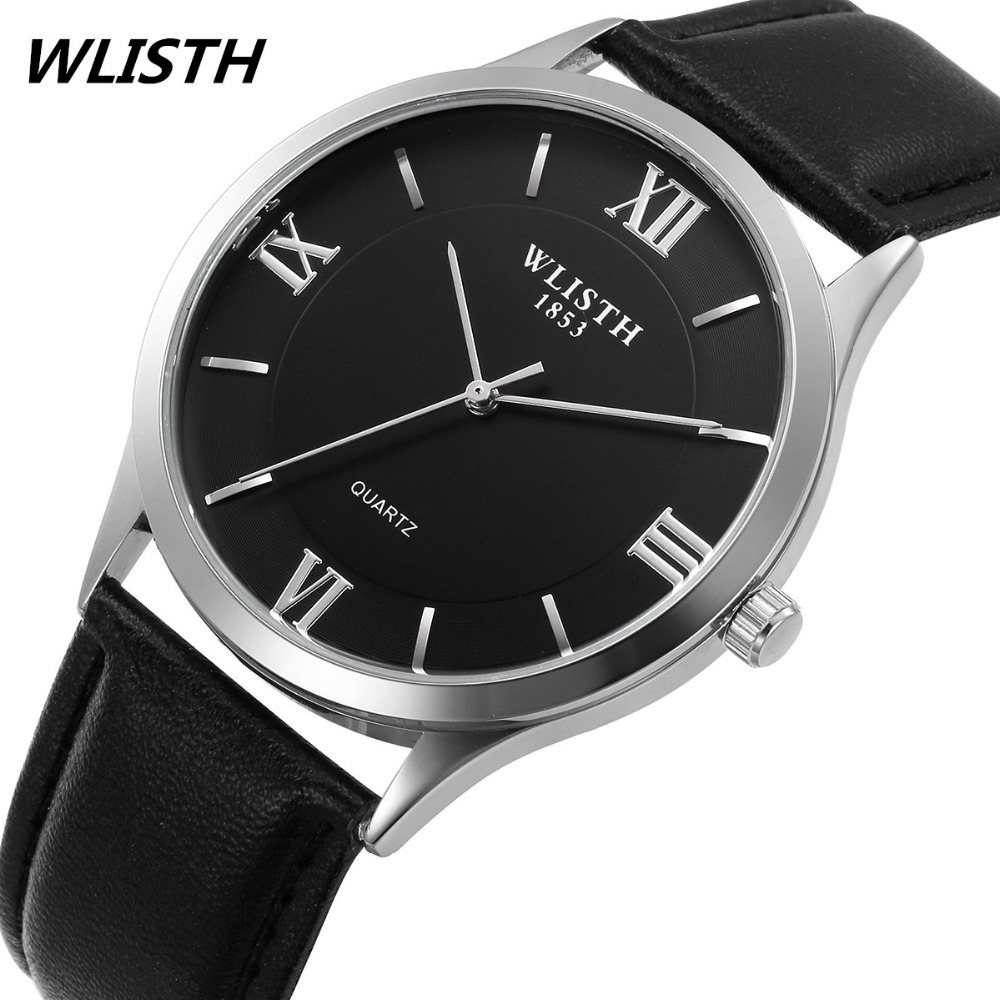 WLISTH Mens watches Top brand luxury Watch men High Quality Leather Waterproof Quartz Wrist Watches For