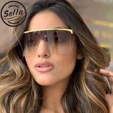 Sella 2019 New Trending Women Men Oversized Conjoined Square Sunglasses Alloy Frame Semi-Rimless Goggle Sun Glasses Eyewear