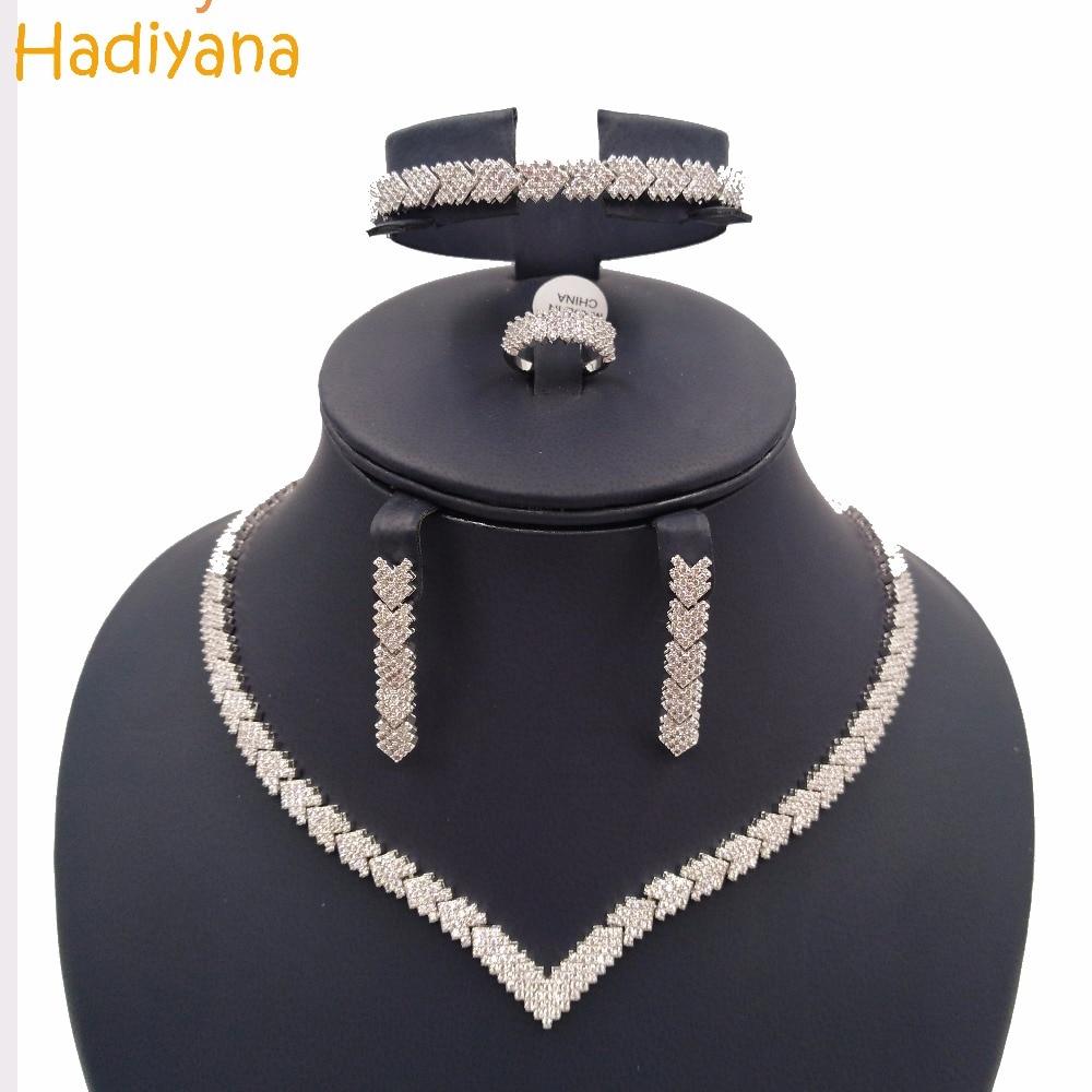 Hadiyana Sparking Arrow Pave Cubic Zirconia 4pcs Jewelry Set For Women Fashion Copper Jewelry Wedding Accessories