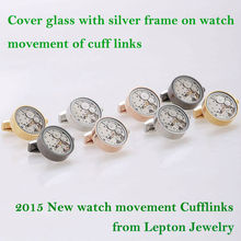 Fashion New 2015 Functional Watch Cufflinks and Cover glass with silver frame on Movement cuff links for mens Gift