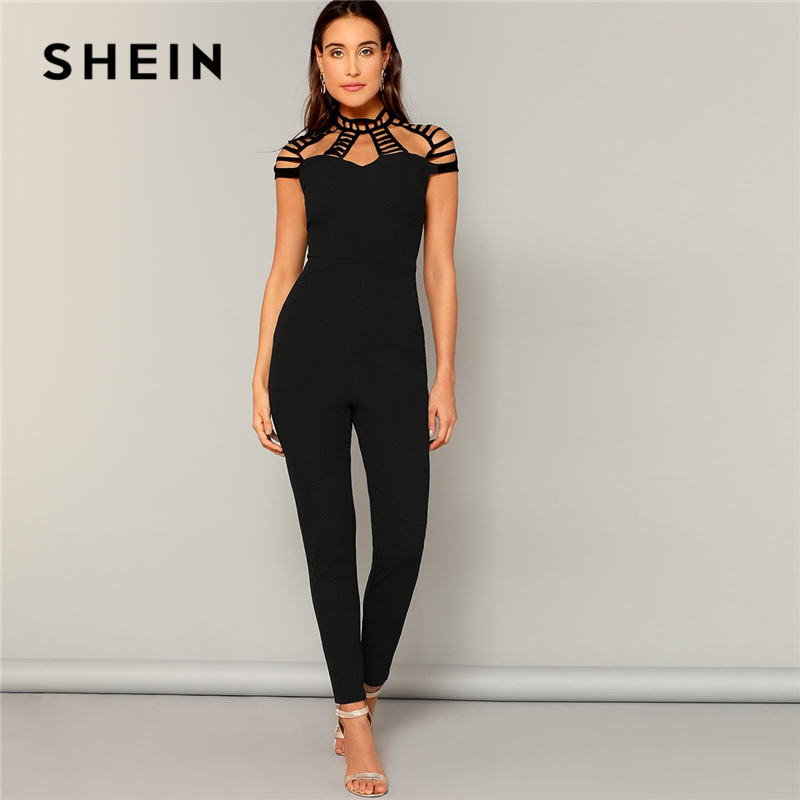 SHEIN Black Laddering Cut Yoke Form Fitted Solid   Jumpsuit   Women Summer Mid Waist High Street Skinny Pencil Sexy   Jumpsuits