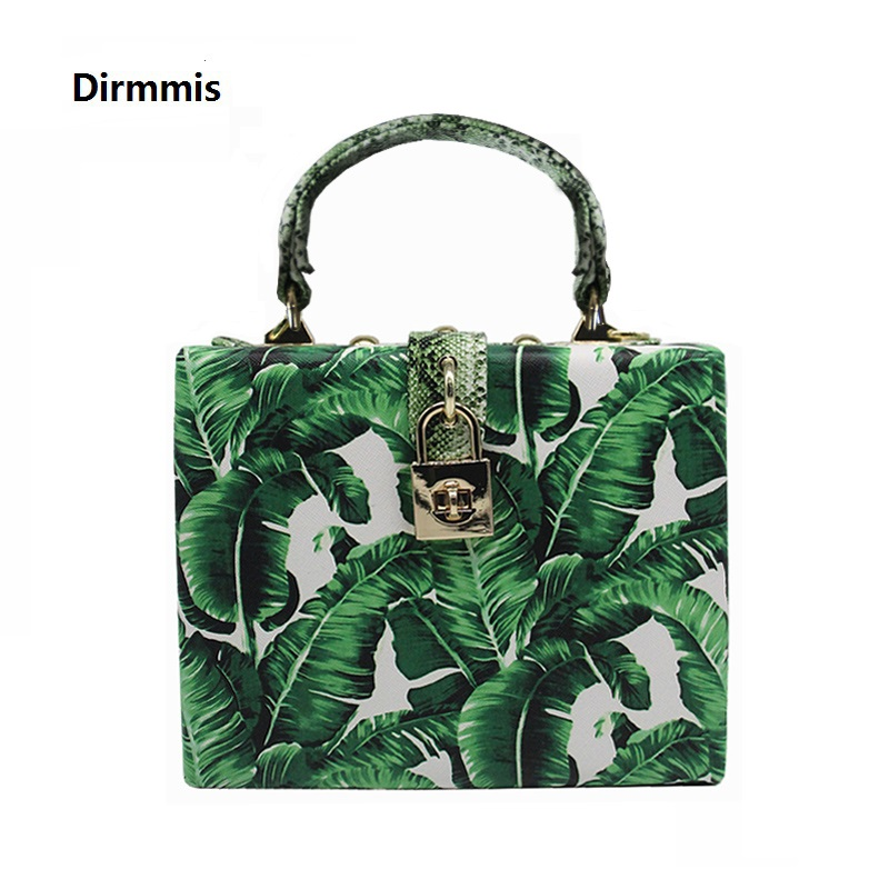 2018 Women messenger bags Brand New Elegant Spring Summer Shoulder diagonal Box Bag Woman leave Print art Clutch banquet Handbag 42 xdzs 260 elegant pink flamingo print art