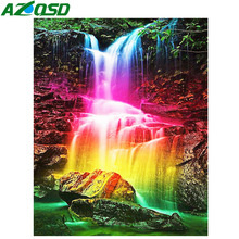 AZQSD Diamond Painting Waterfall Cross Stitch Embroidery Scenery Rhinestones Pictures Needlework Art Gift