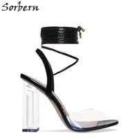 Sexy Clear Square Heels Ankle Wrapped Women Sandals High Heels 11cm Patent Leather Open Toe Jelly