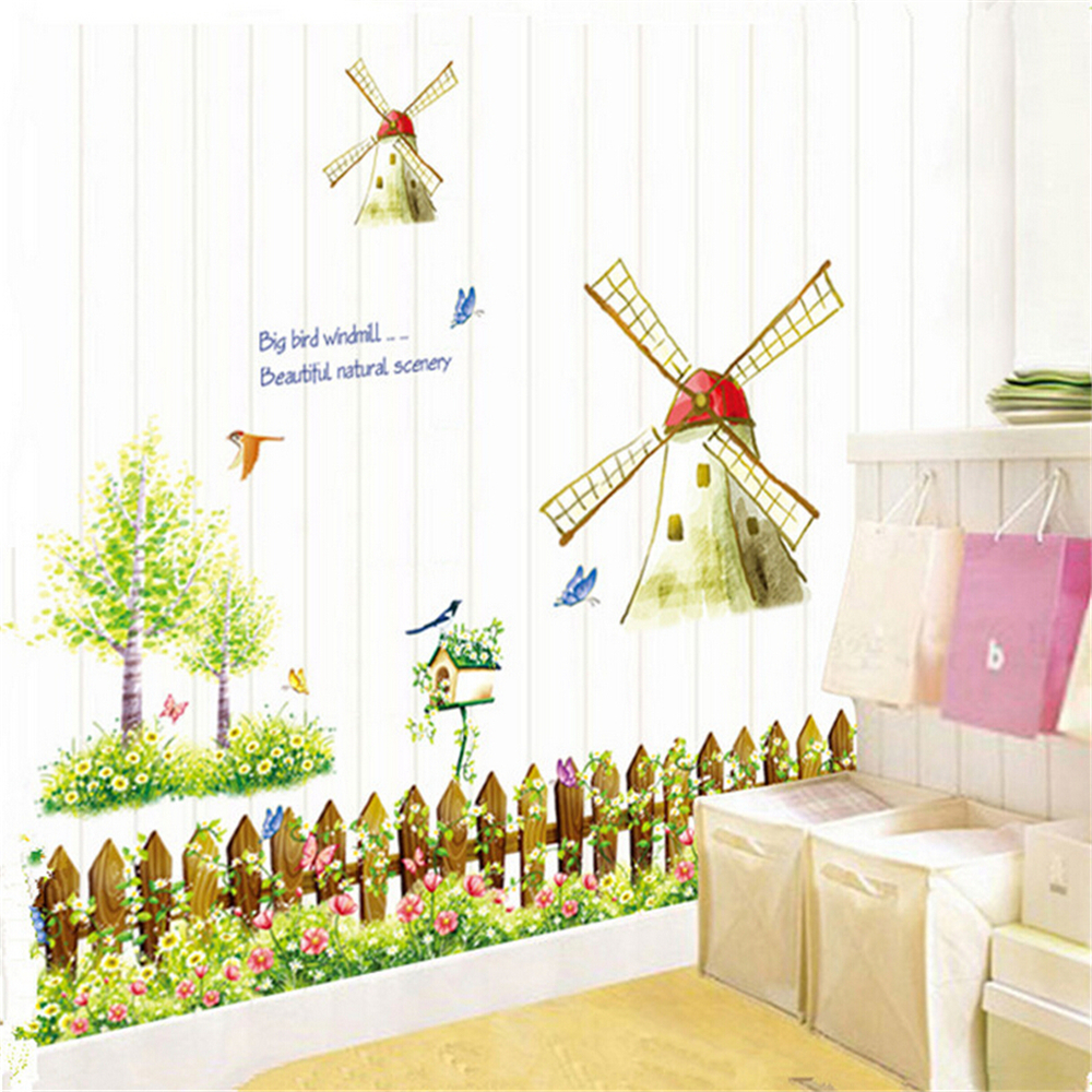 Cartoon Lovely Windmill Vinyl Wall Stickers For Kids Rooms