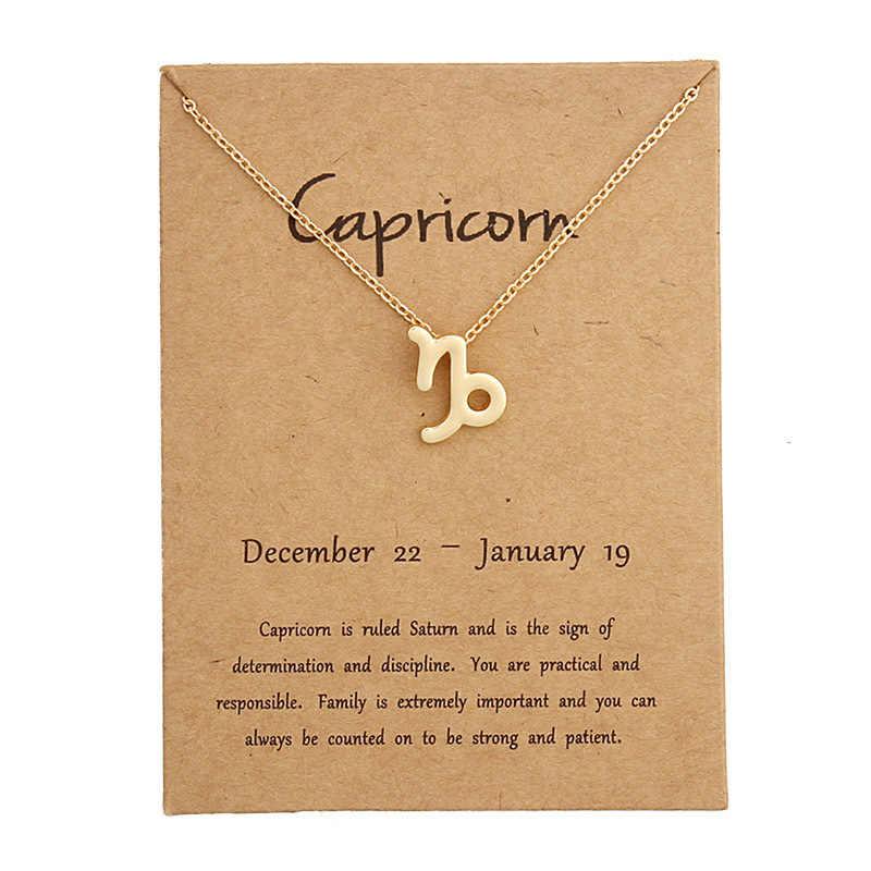 Unique 12 Constelação Pingente de Colar Colar Signo Do Zodíaco Presentes de Aniversário Cartão de Mensagem para As Mulheres Menina Dropshipping