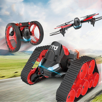 H3 DIY RC Drone 2.4G 6 Axis Wifi FPV 0.3MP Camera Transformer RC Quadcopter Drone RC Tank Jumping Stunter Beetle Bounce Toy Car