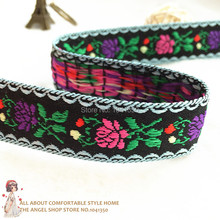 New 7/8'' 22mm 10Yards Wide Lace Leaves Flower Print Black Tone Woven Jacquard Ribbon For Dog Collar Free Shipping