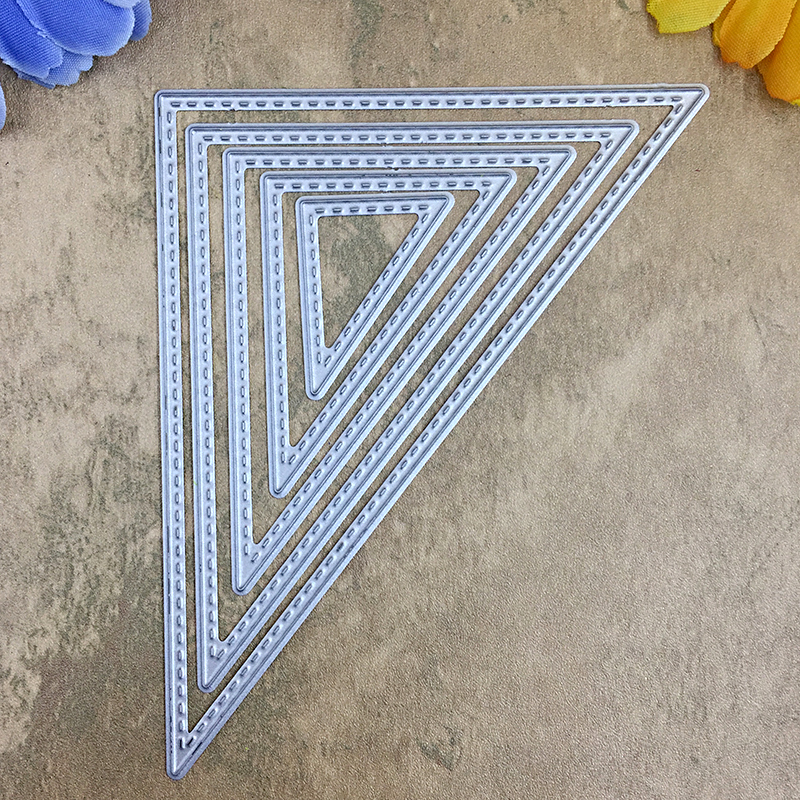 5 PCS Triangle with Sewing Thread Metal Die Cutting Dies For DIY Scrapbooking Photo Album Decorative Embossing Folder