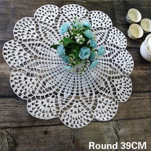 39CM Round Luxury Handmade Table Place Mat Cotton Lace Crochet Christmas Placemat Coaster Kitchen Wedding Doily Coaster Mat Pad plaid round coaster