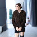 Autumn and Winter Women's Genuine Knitted Mink Fur Jackets with Hoody Lady Warm Short Coats VF0123