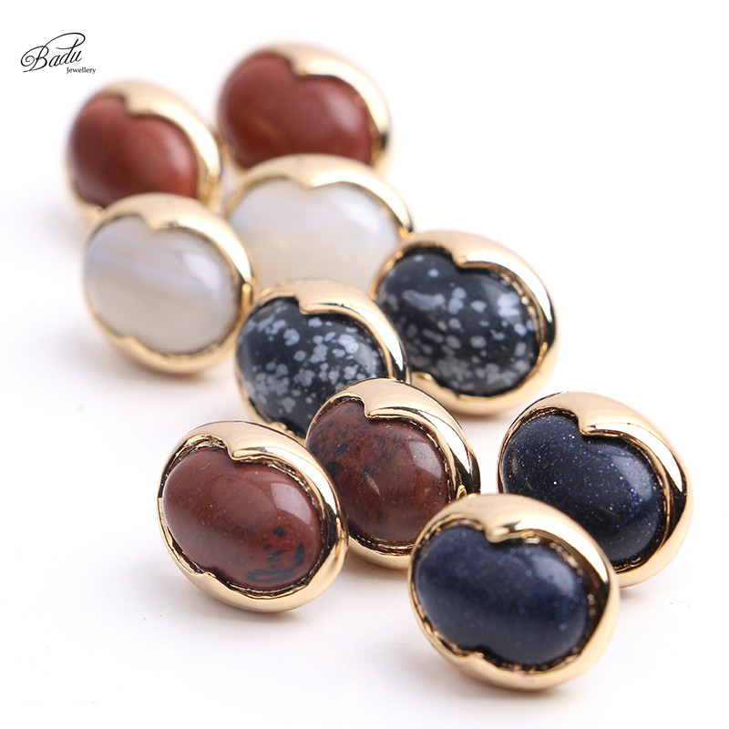 rings product prism jewelry for plated gold stud copper women ear natural stone hexagonal earrings fashion