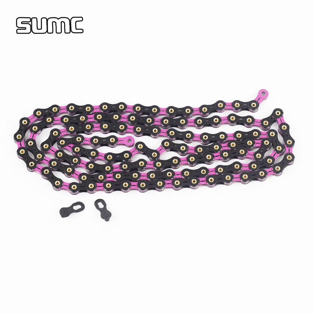SUMC 11 Speed Diamond Chain with Connector 116L 11s Full Hollow MTB Mountain Road Bike BMX