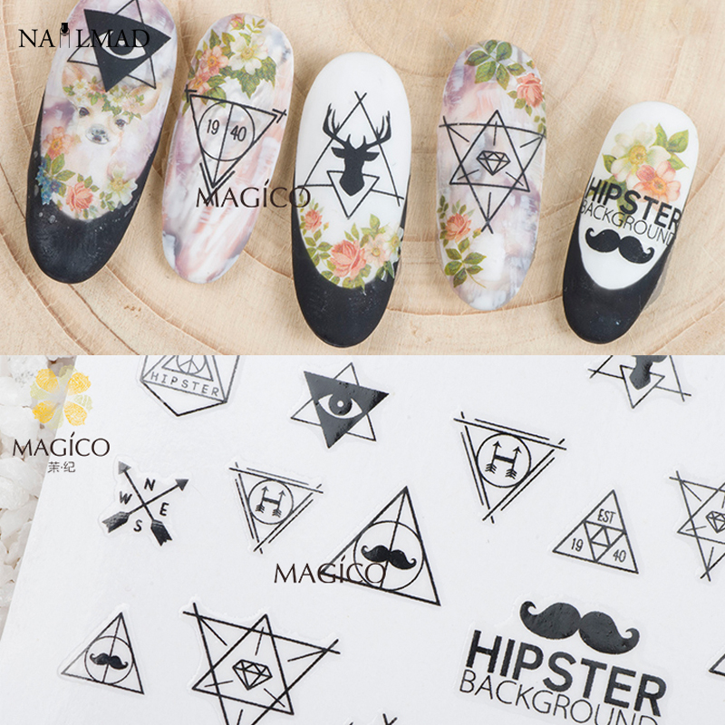 1 sheet hipster 3d nail art stickers
