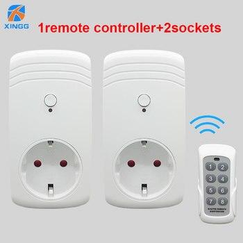 2PCS RF 433MHz Intelligente 2 Smart Wireless Remote Plug Steckdose W/Control Schalter 1 Sender UNS EU UK Stecker