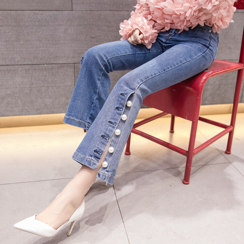 2019 spring summer blue Side Stripe   jeans   female beaded nine points micro bell trousers Slim stretch Flare denim Pants S~2XL
