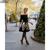 New Spot Selling Women S Dress One Word Collar Seven Points Sleeve Slim Big Swing Printing